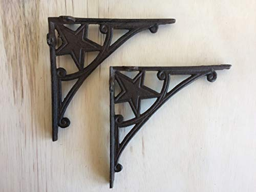 Western Star Shelf Brackets - Heavy Cast Iron - Star Shelf Bracket (Lot/Set of 2) - Wall Mount - Indoor or Outdoor Use - Rustic Black Finish Perfect for Cabin or Farmhouse - Old Western Primitive Design CI166