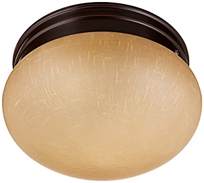 Nuvo Lighting 60/2644 Two Light Medium Mushroom Flush Mount Ceiling Fixture with Champagne Linen Glass Shade