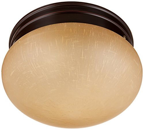 Nuvo Lighting 60/2644 Two Light Medium Mushroom Flush Mount Ceiling Fixture with Champagne Linen Glass Shade - Mushroom Flush Mount Ceiling Fixture