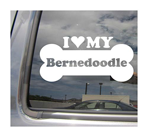 I Heart Love My Bernedoodle - Dog Bone Bernese Mountain Dog Poodle Mix Hybrid Breed Cars Trucks Moped Helmet Hard Hat Auto Automotive Craft Laptop Vinyl Decal Store Window Wall Sticker 13132