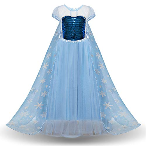 ChenyanAwesome Children's Dress Girls Sequin Queen Princess Costume Dress Up Short Sleeve Child Girls Birthday Party Cosplay Dress Princess Evening Dress (Pattern : Blue, Size : 110) -
