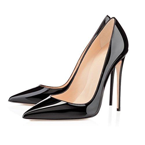 Fête Escarpins Aiguille Soiree Noir Femmes Chaussures Femme EDEFS 120mm Élégant Talon Chaussures Haut Femmes P1qfnx8E