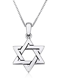 Genuine 925 Sterling Silver Chain Necklace with Pendant Charm, 18 Inch Box Chain, Jewish Tokens