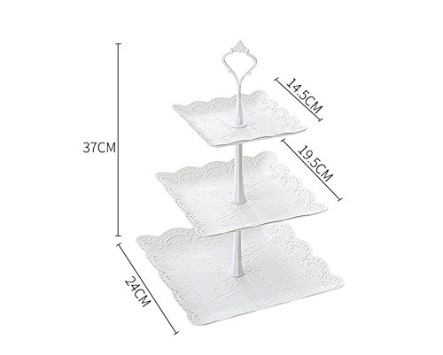 IMAXXF 3-Tier Cake Stand, Cupcake Desserts Plastic Pastry Stand &Fruit Plate Candy Buffet Stand for Wedding/Home/Birthday Party/Afternoon tea Serving Platter – White/2 Set Square