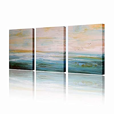 Seascape Oil Painting Abstract Wall Art Peaceful Lake Landscape 3 Piece Pictures Framed Ready to Hang for Wall Decorations 16x36inches - ❤ Size of Home Art Canvas Painting: individual size:12x16inch x3 Piece,overall:16inches highx36 inches wide,framed and ready to hang;Color:Teal,Blue. ❤ ENVIRONMENTAL MATERIAL WILL NOT FADE. We assure you that our modern canvas painting is poison-free and odor-free performance,will last for years and look as stunning as it did on day one. ❤ A STYLISH GIFT: The landscape wall decoration pictures will beautify your interior space in uncommon way.They are mostly used to decorate home and they give amazing effect also in other interiors like: offices, restaurants, waiting rooms. They can be great as an ideal Valentine's Day, Christmas and New Year gift for your relatives and friends. - wall-art, living-room-decor, living-room - 41l4vyQLcJL. SS400  -