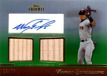 Nomar Garciaparra Bat (2011 Topps Tribute Dual Relics #TADR-NG Nomar Garciaparra Certified Autograph Game Used Bat Baseball Card - Only 75 made!)