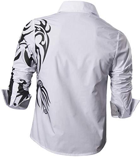 Moda Slim Z001 white Causal 2028 Maniche Sleves Lunghe Uomo Long Camicie Men Shirts Jeansian Fashion Fit EIDH2eW9Y
