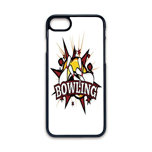 Phone Case Compatible with iPhone7 iPhone8 Black Edge Fashion Personality,Bowling Party Decorations,Cartoon Comic Book Style Design Stars Retro Crash Effects Decorative,Ruby White Yellow,Hard Plastic]()