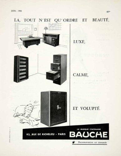 1955 Ad Bauche Furniture French Safe Furnishings Household Desk Advertising - Original Print Ad from PeriodPaper LLC-Collectible Original Print Archive