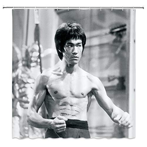 AMNYSF Chinese Kongfu Bruce Lee Decor Shower Curtain Retro Black and White Style Famous Movie Star Portrait,70x70 Inch Waterproof Polyester Fabric Bathroom Accessories Curtains with 12pcs Hooks
