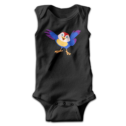 Infants Bird Short Sleeve Bodysuit Baby Onesie Baby Climbing Clothes Outfits Jumpsuit Outfits Romper For 0-24 Months Black 3M