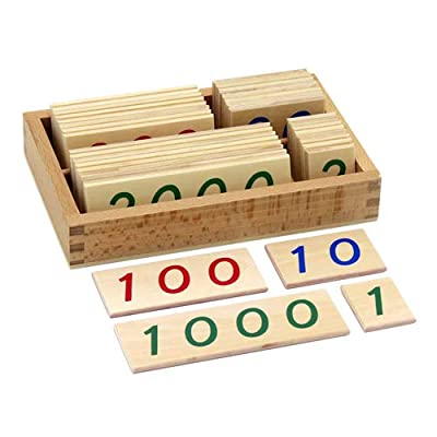 Elite Montessori Small Wooden Number Cards with Box (1-9000): Toys & Games