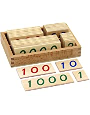 Montessori Small Wooden Number Cards with Box (1-9000)