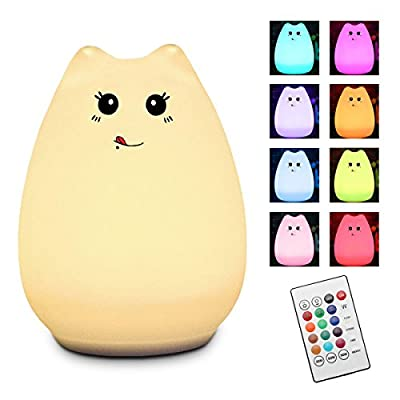 Children Night Light, Elfeland Remote Control LED Cute Silicone Cat Lamp 12+1 Colors/6 Lighting Modes/USB Rechargeable/Timing Off for Kids Bedside Bedroom Nursery Birthday Gift Valentine Present