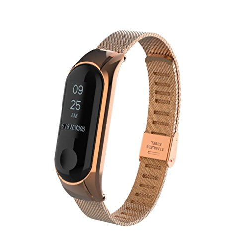 Redvive For Xiaomi Mi Band 3 Watch Band Men Women, Luxury Milanese Stainless Steel Replacement Wristband Metal Watch Band Strap Bracelet Accessory Bands For Xiaomi Mi Band 3 Watch (Rose Gold) by Redvive
