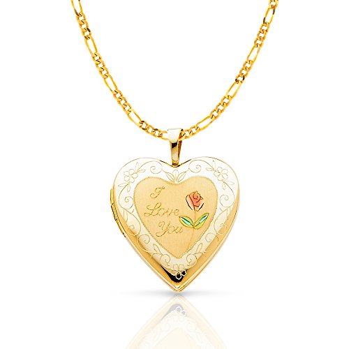 14K Yellow Gold Engraved Heart