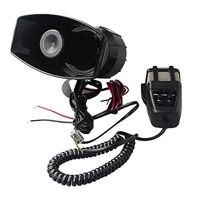 GAMPRO Car Siren Horn,12V 80W 7 Tone Sound Car Siren Vehicle Horn with Mic PA Speaker System Emergency Sound Amplifier