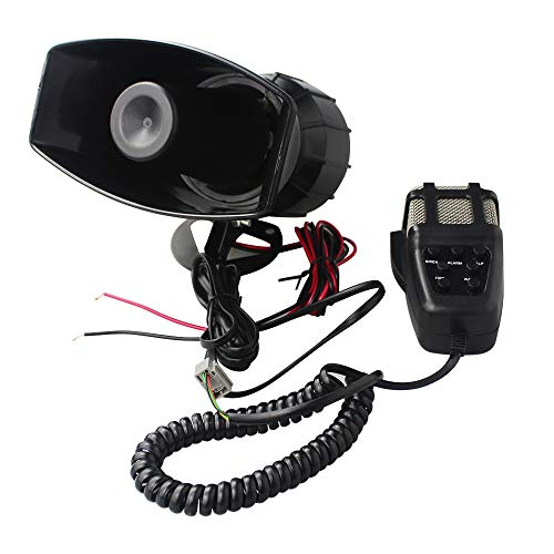 GAMPRO Car Siren Horn,12V 80W 7 Tone Sound Car Siren Vehicle Horn with Mic PA Speaker System Emergency Sound Amplifier ()
