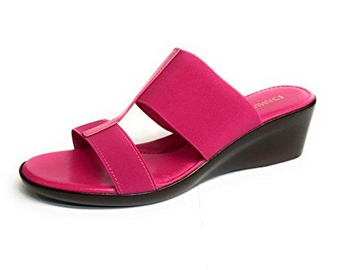 ITALIAN Shoemakers Women's 400m Wedge Sandal (11, Fuchsia)