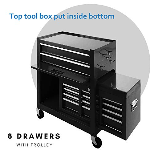 Tool Box Rolling 2 in 1 Portable Tool Chest Cabinet Top&Bottom Key Lockable Storage Toolbox with 4 Swivel Wheels (2pc with brake), 6-Sliding Drawers Removable Toolbox Organizer, Black by Long world (Image #2)