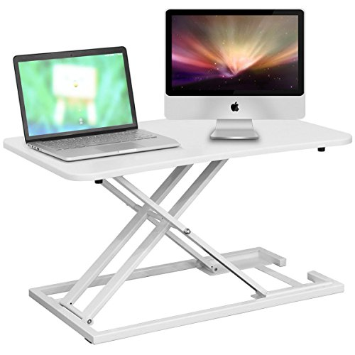 Tangkula Standing Desk Home Office Height Adjustable Gas Spring Riser Sit-Stand Laptop Desk for Dual Monitor Computer Stand (White 002) by Tangkula
