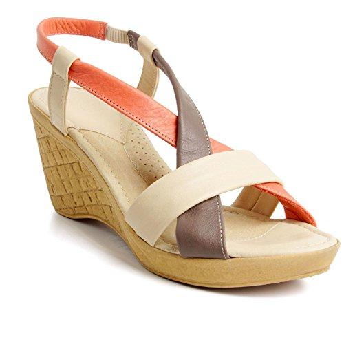 Batz California Damen Hochwertigem Sommer Sandaletten, Sandalen, Lederschuhe, Schuhe Beige Mix