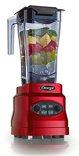 Omega Juicers OM7560R 3HP Blender with 64-Ounce BPA Free Container Creates Delicious Smoothies Features Stainless Steel Blades and 11-Speeds Includes Plunger and Recipe Book, 1400-Watt, Red
