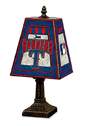 MLB Texas Rangers 14-Inch Art Glass Lamp (Mlb Texas Rangers Table)