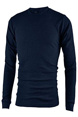 (OLLIE ARNES Men's Long Sleeve Heavy Warm Thermal Crew Neck Shirt 100% Cotton Top Navy S)