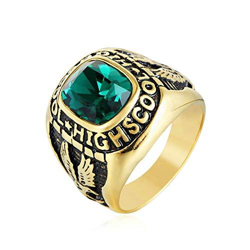 Aooaz Stainless Steel Rings for Men Light School Engraving Biker Ring Green Size 10
