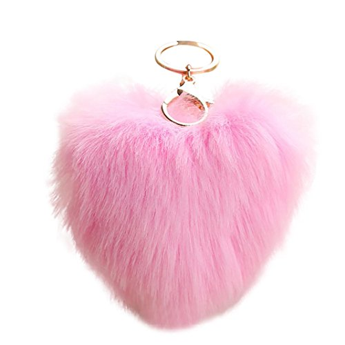 Key Pink Heart (BCDshop Cute Heart Shape Pendant Women Key Ring Holder Pompoms Key Chains Xmas Gift (Pink, alloy))