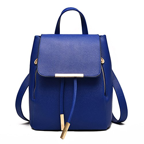 - KARRESLY Women's Mini Backpack Purse PU Leather Rucksack Purse Ladies Casual Shoulder Bag for Women(Blue)