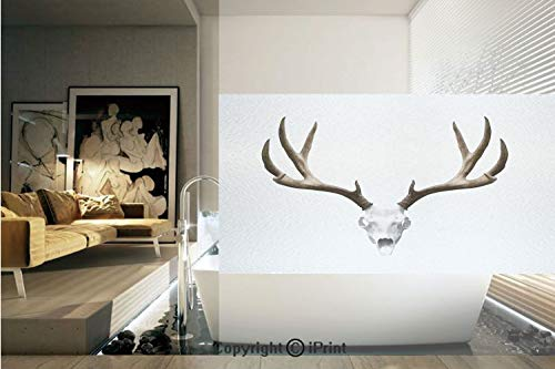 (Ylljy00 Decorative Privacy Window Film/A Deer Skull Skeleton Head Bone Halloween Weathered Hunter Collection Decorative/No-Glue Self Static Cling for Home Bedroom Bathroom Kitchen Office)