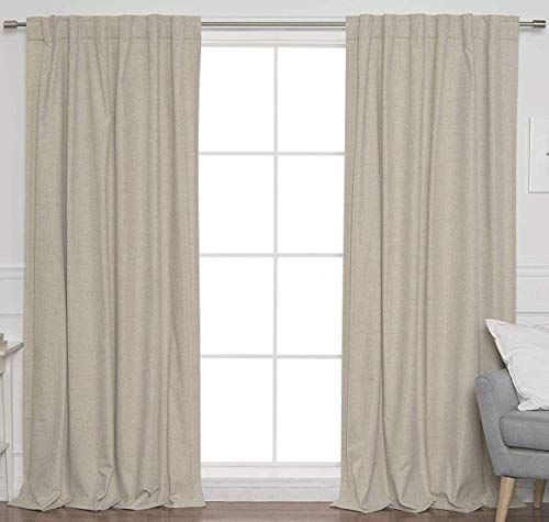 Linen Clubs 2Pack Flax Cotton Reverse tab top Curtain Panel 50x63 Natural