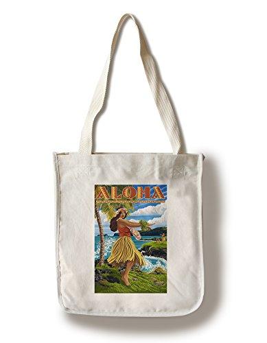 Lantern Press Aloha - Hawaii Hula Girl on Coast (100% Cotton Tote Bag - Reusable) -