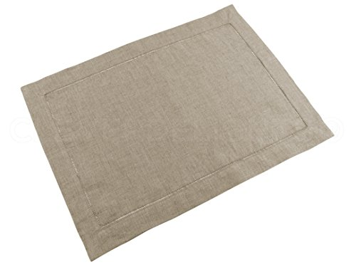 CleverDelights 6 Pack Natural Linen Hemstitched Placemats - 14