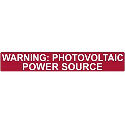 "HellermannTyton 596-00206 Pre-Printed Solar Label, 6.5"" X 1.0"", WARNING: PHOTOVOLTAIC POWER SOURCE, Red Reflective (Pack of 50)"