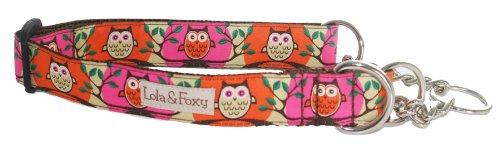 Lola & Foxy Pink Owl Dog Martingale Collar, Large