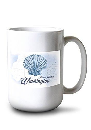 Lantern Press Friday Harbor, Washington - Scallop Shell - Blue - Coastal Icon (15oz White Ceramic Mug) ()