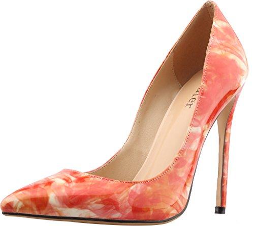 Calaier Femme Cause 12CM Aiguille Glisser sur Escarpins Chaussures Peinture Rouge