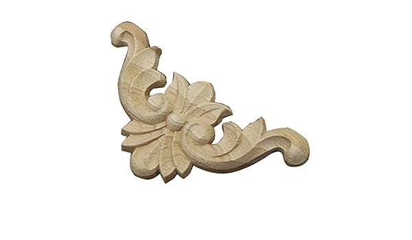 Amazon exquisite unpainted wooden carved corner onlay