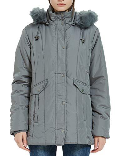 Plusfeel Ladies Solid Outwear Faux Fur Trim Hood Lightweight Slim Long Quilted Down Puffer Jacket Coat, Dark Gray, XX-Large
