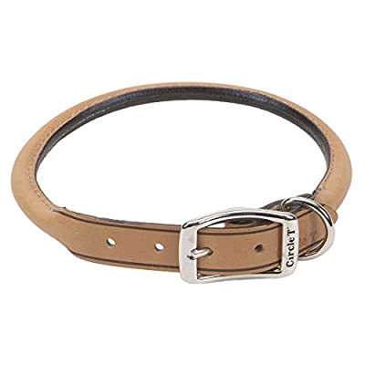 """Coastal Pet Products Circle T Oak Tanned Leather Round Dog Collar, 1"""" x 24"""", Tan"""
