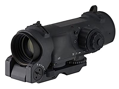 Elcan SpecterDR Tactical Rifle Scope 1x:4x 32mm Switch Power Illuminated 5.56 Ballistic Crosshair Reticle with ARMS Throw Lever Picatinny-Style Mount from Elcan