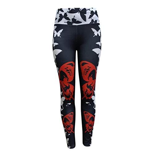 Reasoncool Women Sweatpants,Butterfly Print High Waist Tummy Control Leggings Capris Workout Running Stretch Sports Pants Yoga Pants(Black,L)