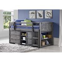 Grey Twin Loft Beds with Dresser and Bookshelf - Free Storage Pockets