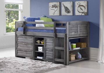 Grey Twin Loft Beds with Dresser and Bookshelf - Free Storage Pockets
