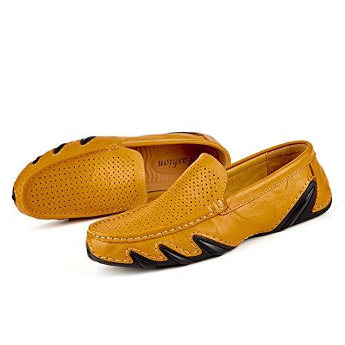 Go Tour Mens Scarpe Da Guida Premium In Vera Pelle Moda Slipper Casual Slip On Mocassini Scarpe Punzonate Gialle