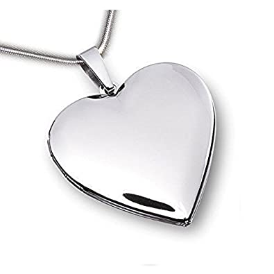 Medallón de corazón brillante - acero inoxidable con cadena ...
