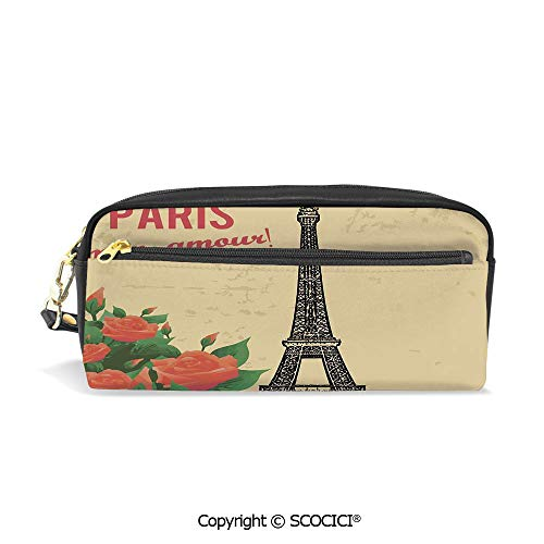 Girls Boys 3D Printed PU Pencil Case Holders Bag with Zipper Vintage Style Paris Illustration with Nostalgic Roses and Eiffel Mon Amour My Love Stationery Makeup Cosmetic Bags Back to School